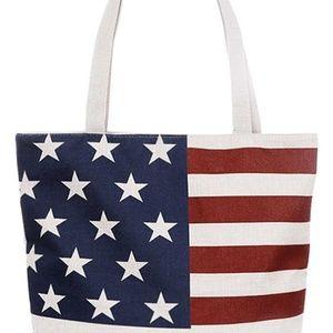USA Flag Print Canvas Tote Bag